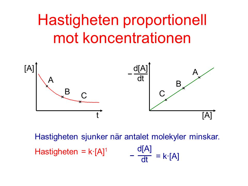Hastigheten proportionell mot koncentrationen