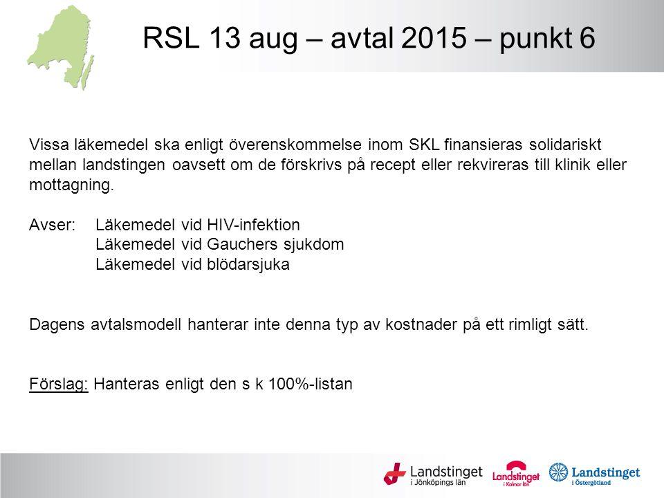 RSL 13 aug – avtal 2015 – punkt 6 Vissa läkemedel ska enligt överenskommelse inom SKL finansieras solidariskt.