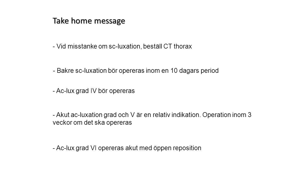 Take home message - Vid misstanke om sc-luxation, beställ CT thorax