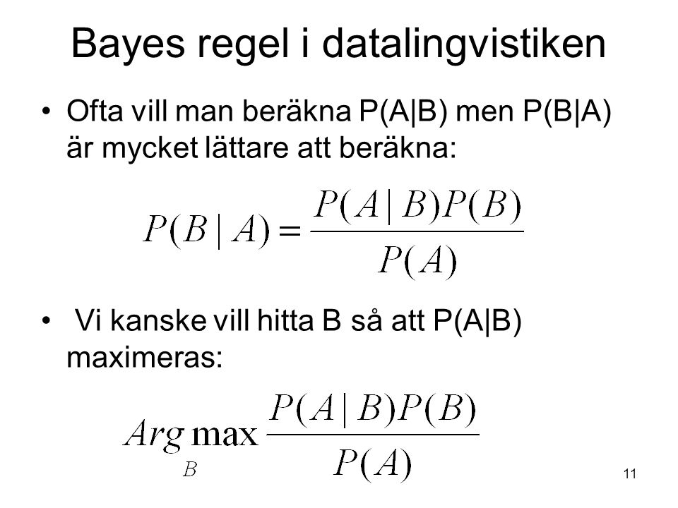 Bayes regel i datalingvistiken