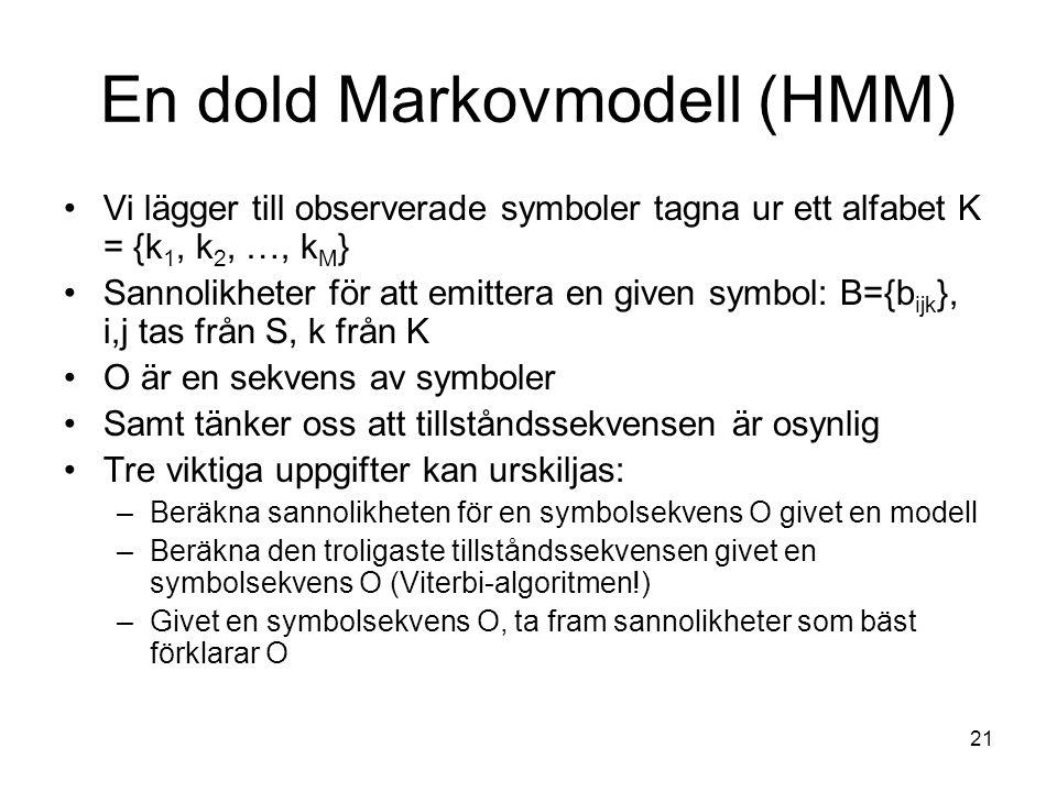 En dold Markovmodell (HMM)