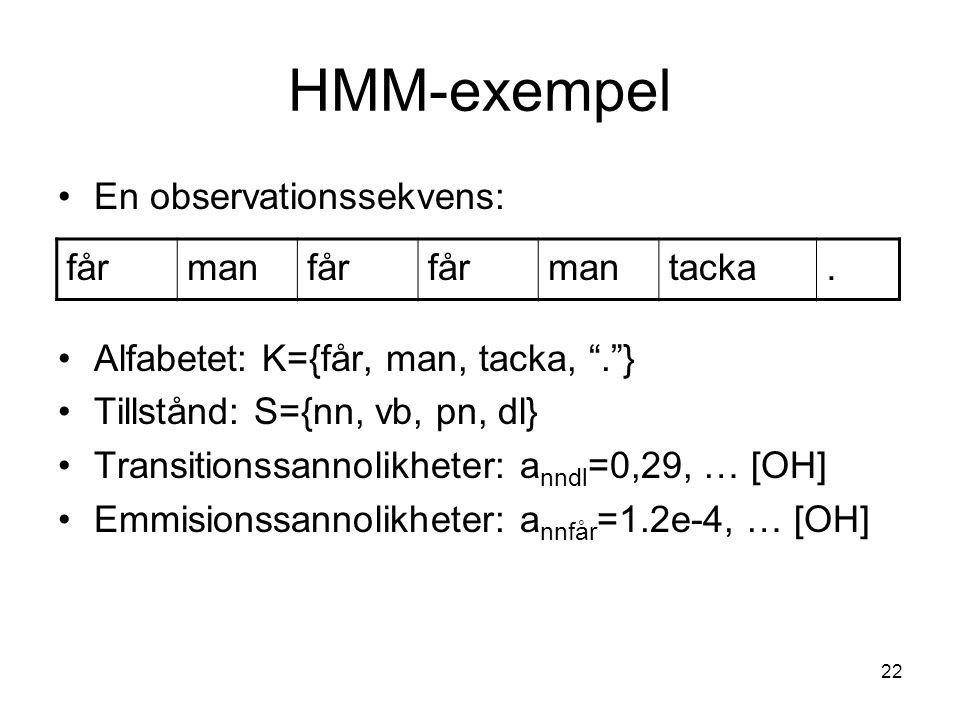 HMM-exempel En observationssekvens: