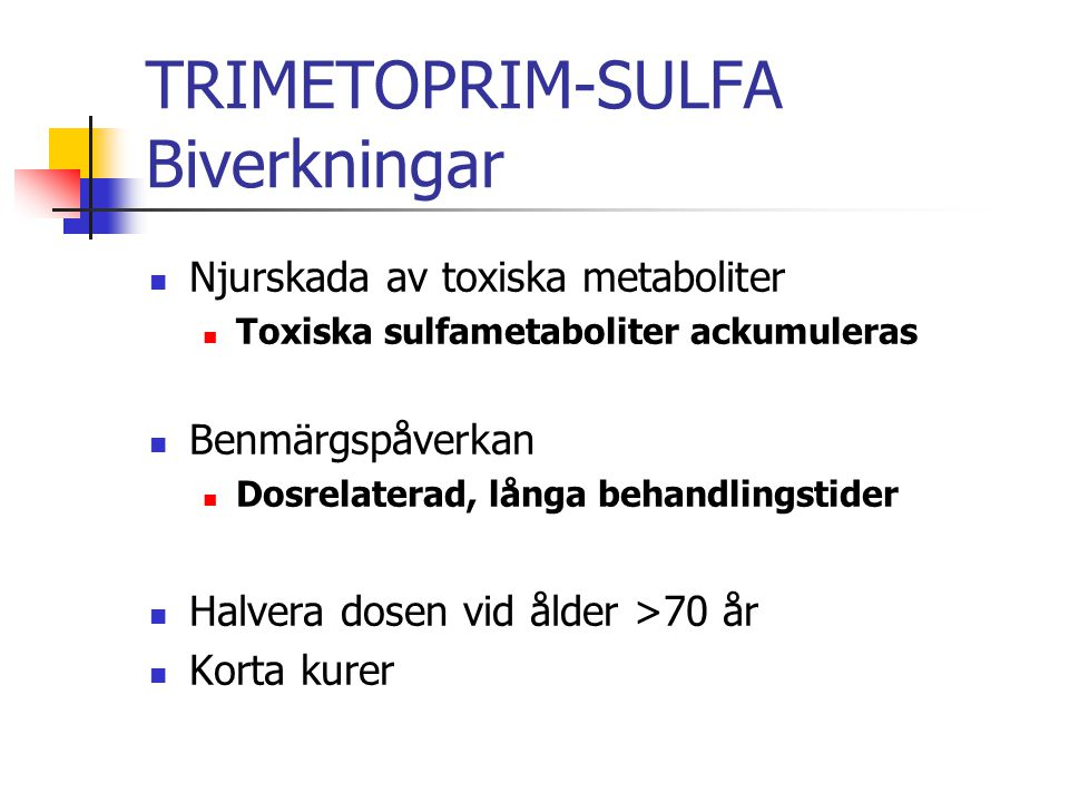 TRIMETOPRIM-SULFA Biverkningar