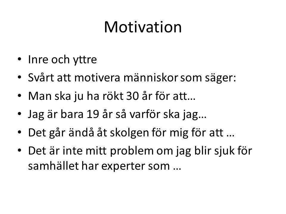 Motivation Inre och yttre Svårt att motivera människor som säger: