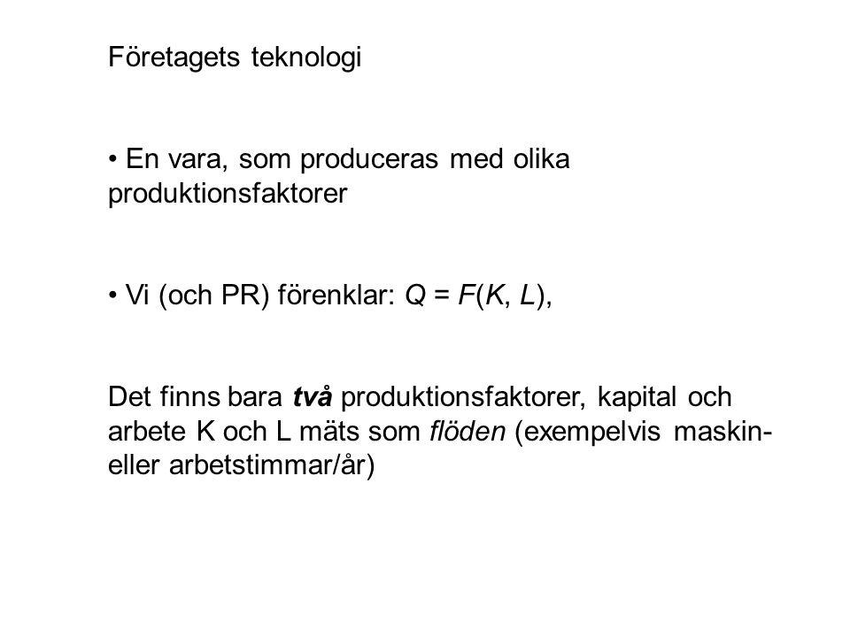 Företagets teknologi • En vara, som produceras med olika produktionsfaktorer. • Vi (och PR) förenklar: Q = F(K, L),