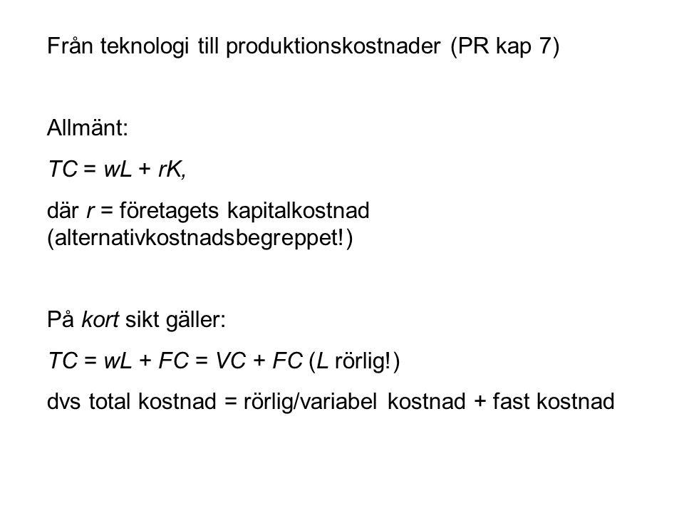 Från teknologi till produktionskostnader (PR kap 7)