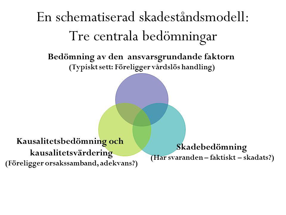 En schematiserad skadeståndsmodell: Tre centrala bedömningar