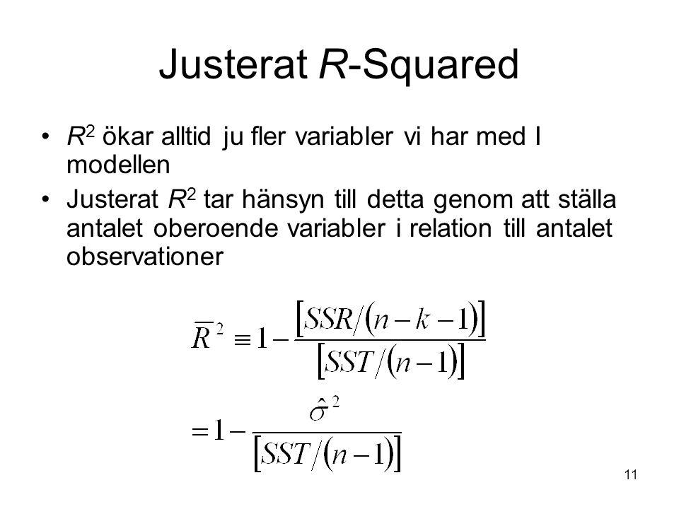 Justerat R-Squared R2 ökar alltid ju fler variabler vi har med I modellen.