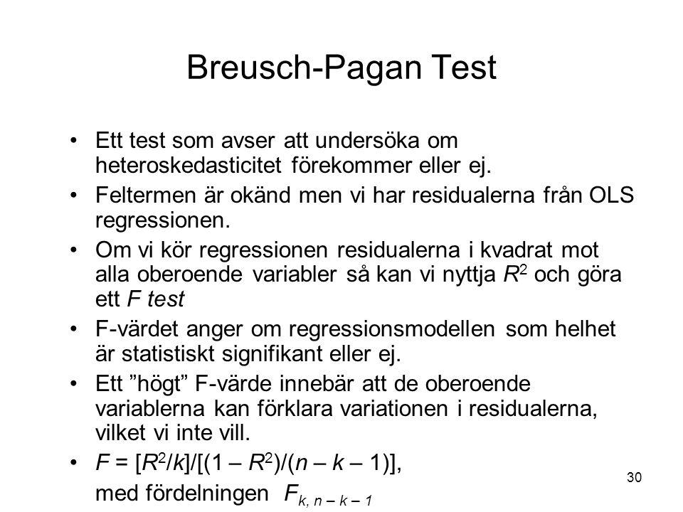 Breusch-Pagan Test Ett test som avser att undersöka om heteroskedasticitet förekommer eller ej.