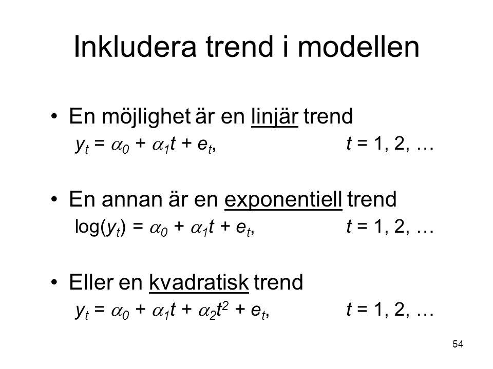 Inkludera trend i modellen