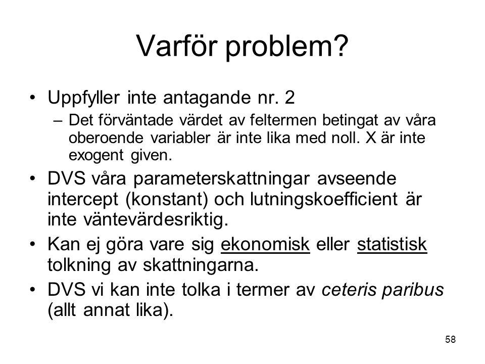 Varför problem Uppfyller inte antagande nr. 2