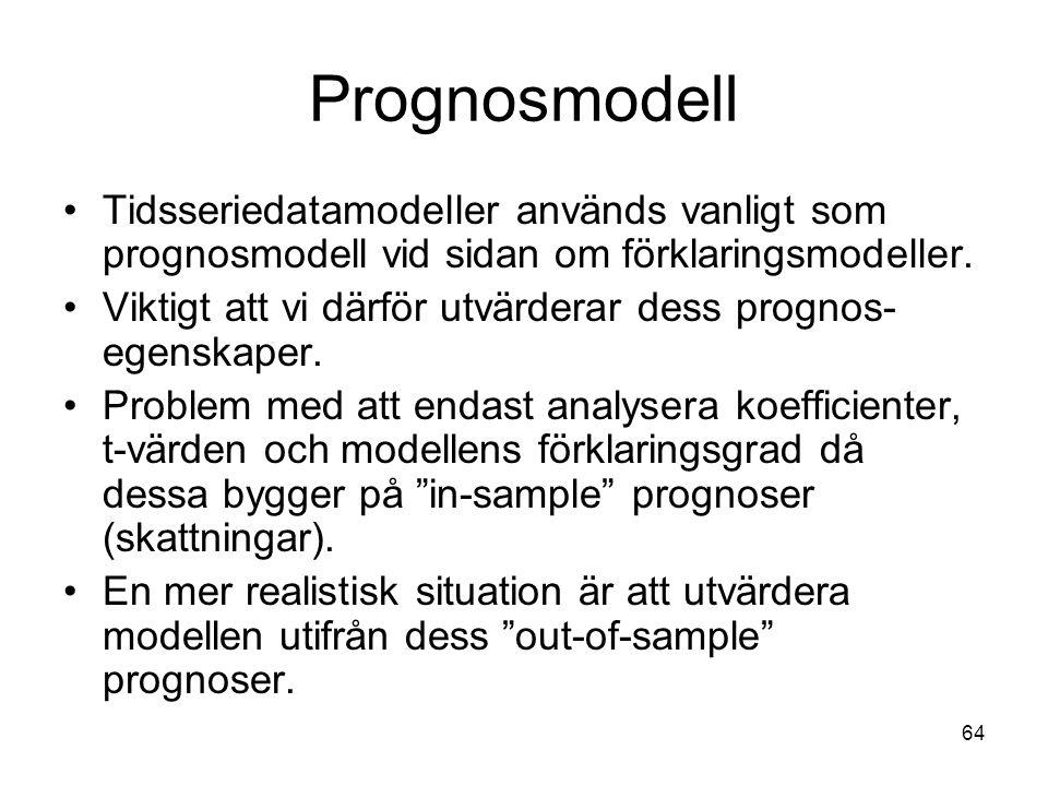 Prognosmodell Tidsseriedatamodeller används vanligt som prognosmodell vid sidan om förklaringsmodeller.