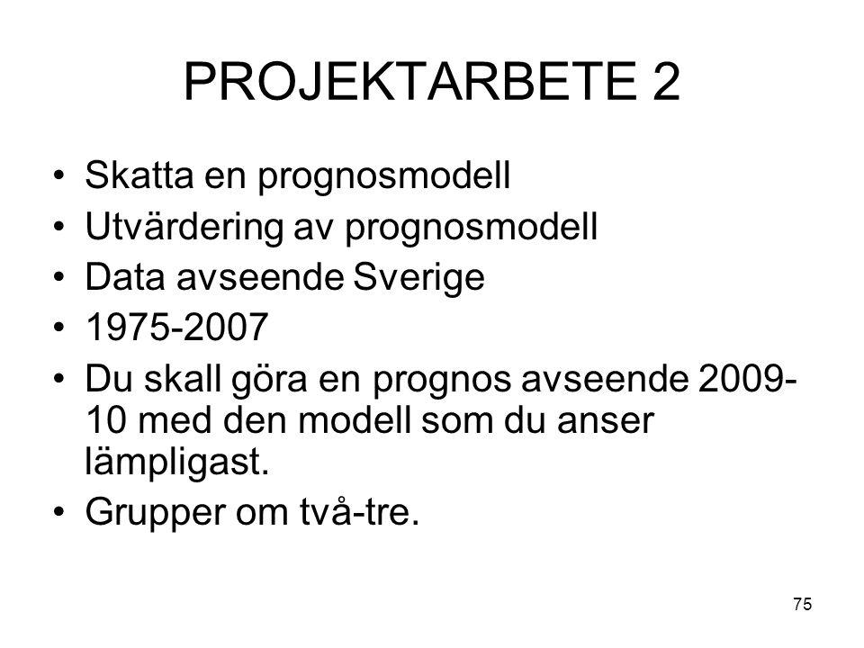 PROJEKTARBETE 2 Skatta en prognosmodell Utvärdering av prognosmodell