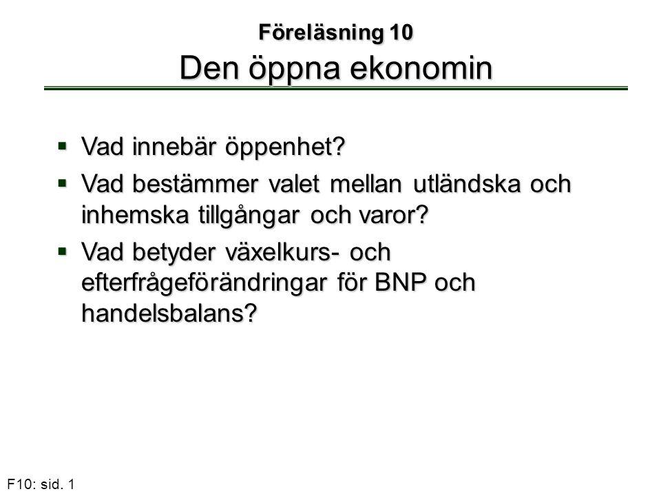 Föreläsning 10 Den öppna ekonomin