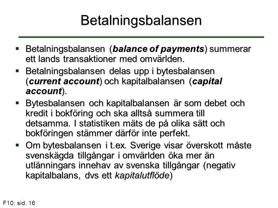 Betalningsbalansen Betalningsbalansen (balance of payments) summerar ett lands transaktioner med omvärlden.