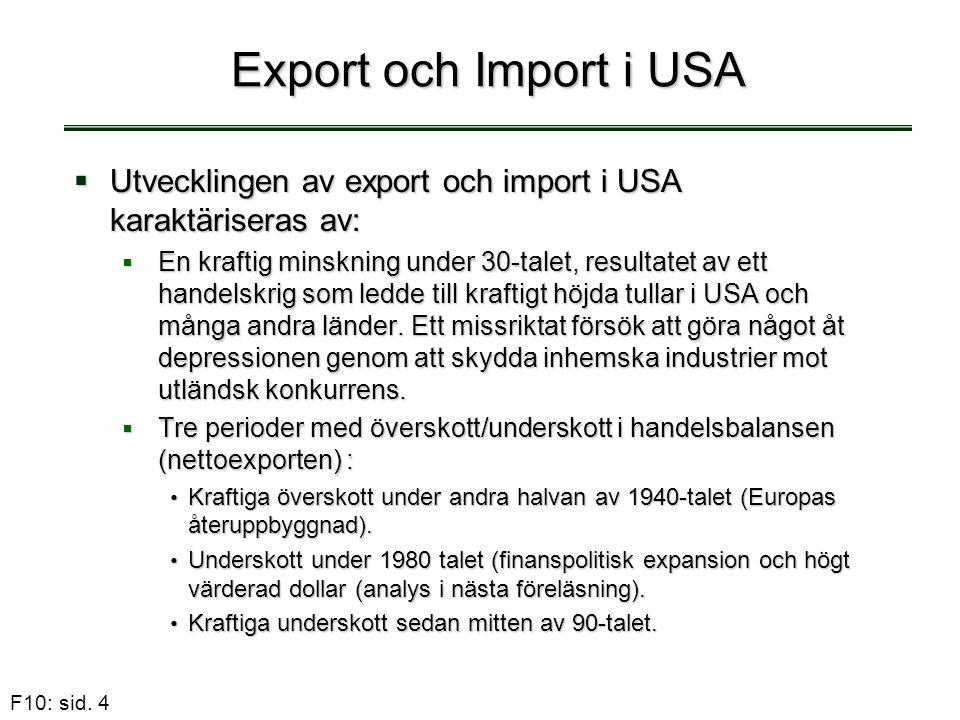 Export och Import i USA Utvecklingen av export och import i USA karaktäriseras av: