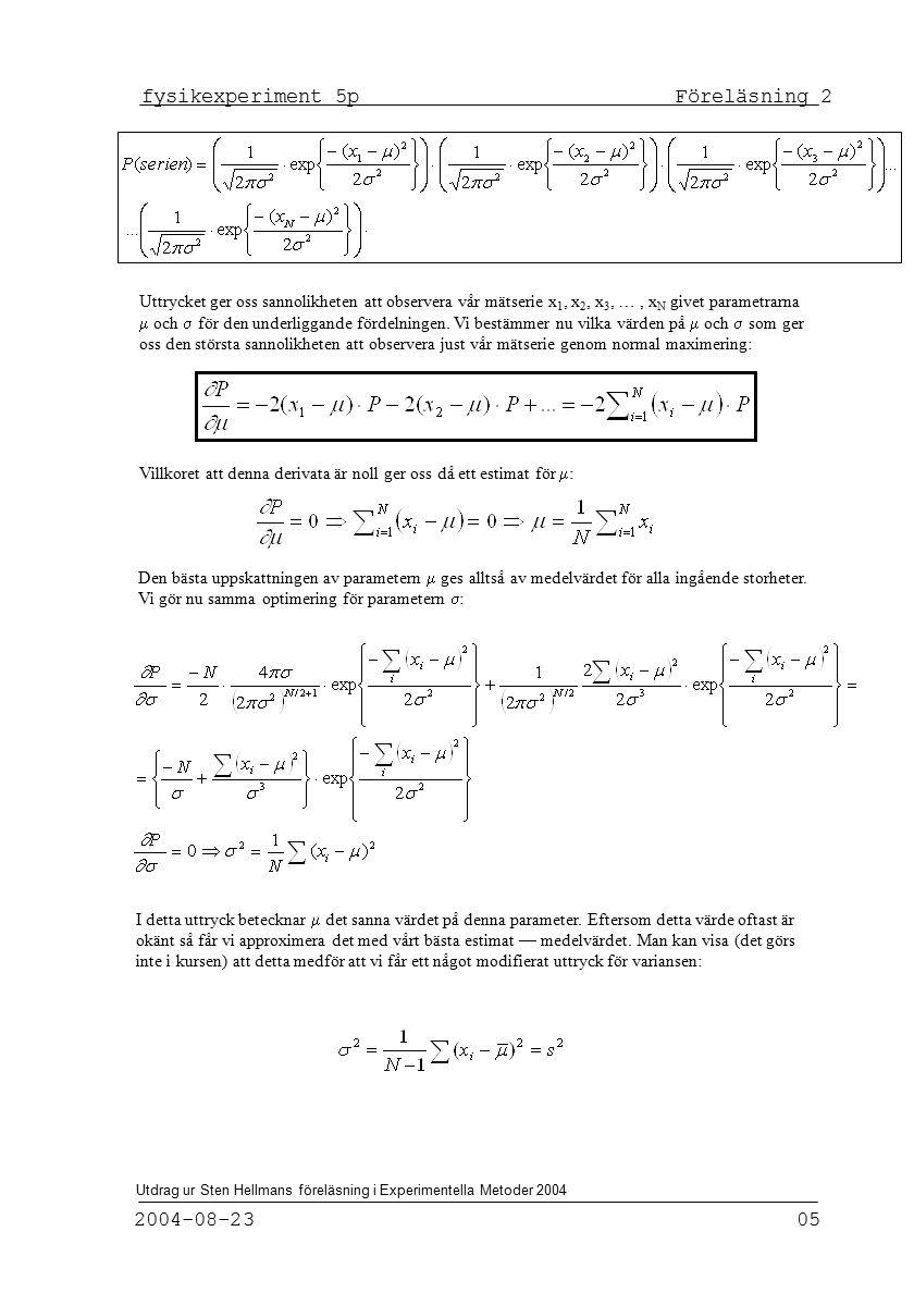 fysikexperiment 5p Föreläsning 2