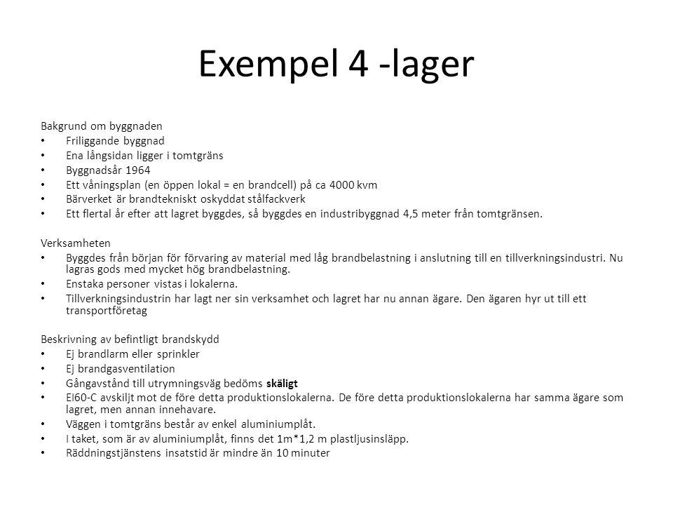 Exempel 4 -lager Bakgrund om byggnaden Friliggande byggnad