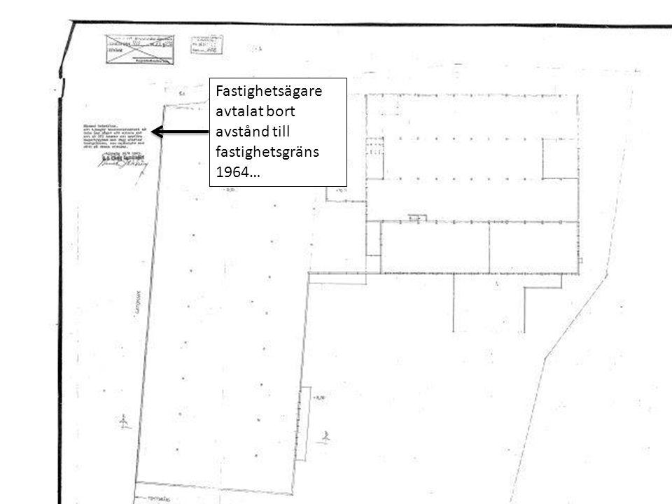 Fastighetsägare avtalat bort avstånd till fastighetsgräns 1964…