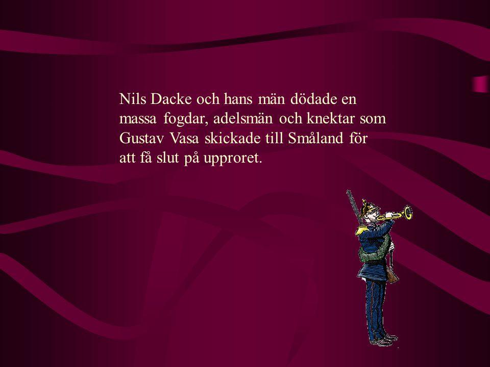 Nils Dacke och hans män dödade en massa fogdar, adelsmän och knektar som Gustav Vasa skickade till Småland för att få slut på upproret.