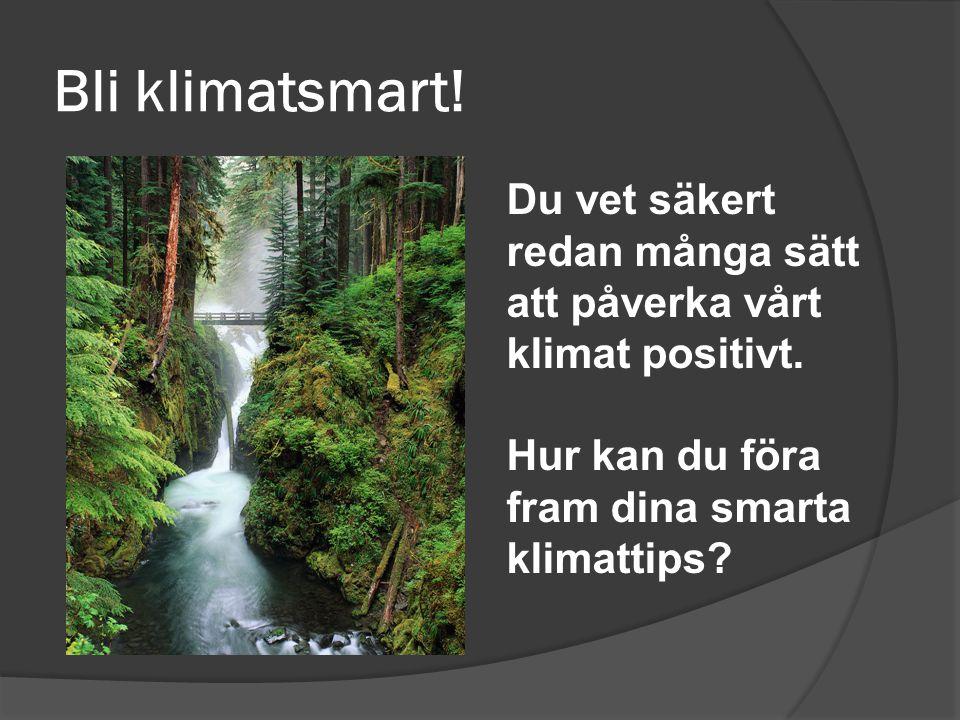 Bli klimatsmart. Du vet säkert redan många sätt att påverka vårt klimat positivt.