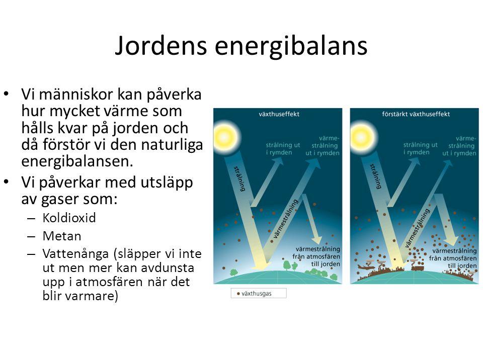 Jordens energibalans Vi människor kan påverka hur mycket värme som hålls kvar på jorden och då förstör vi den naturliga energibalansen.