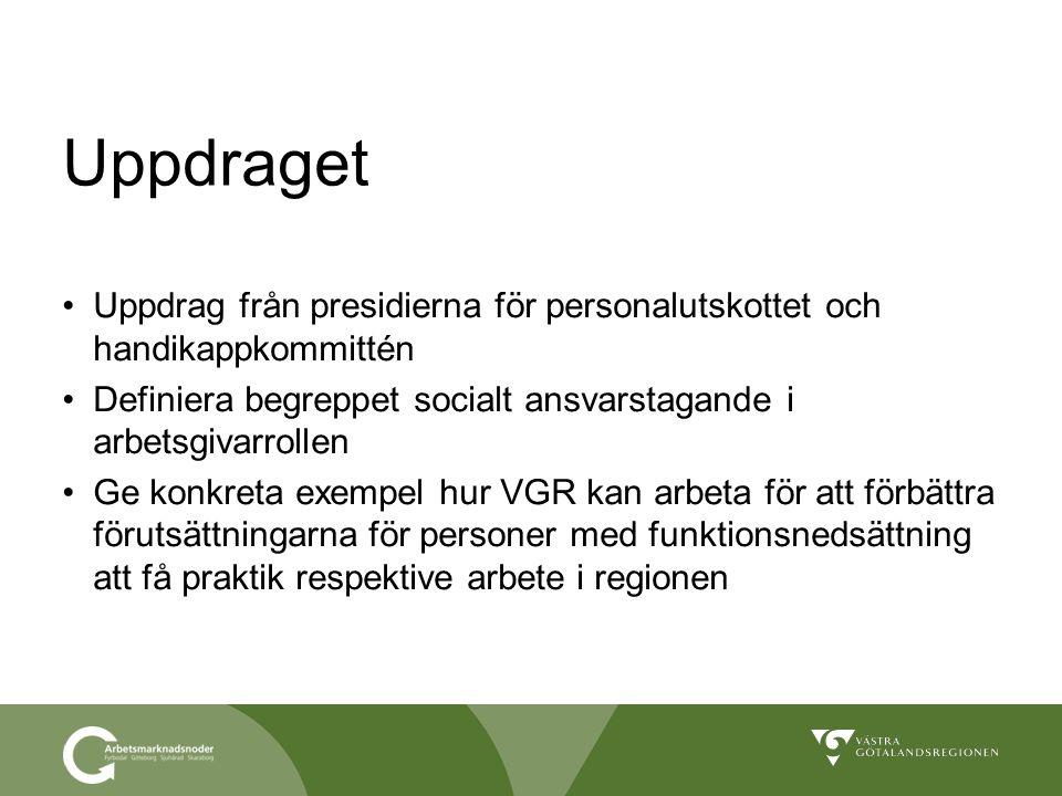 Uppdraget Uppdrag från presidierna för personalutskottet och handikappkommittén. Definiera begreppet socialt ansvarstagande i arbetsgivarrollen.