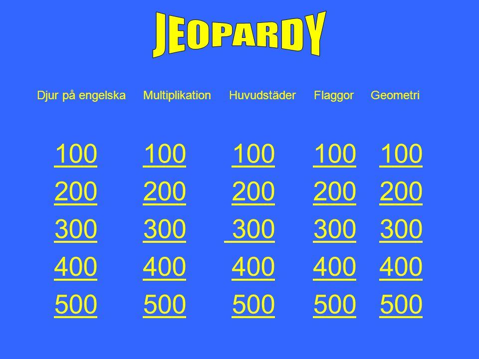 JEOPARDY Djur på engelska Multiplikation Huvudstäder Flaggor Geometri