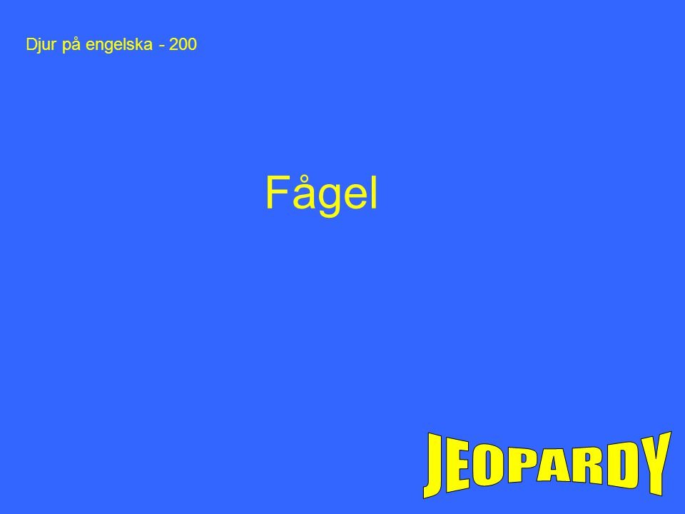 Djur på engelska - 200 Fågel JEOPARDY