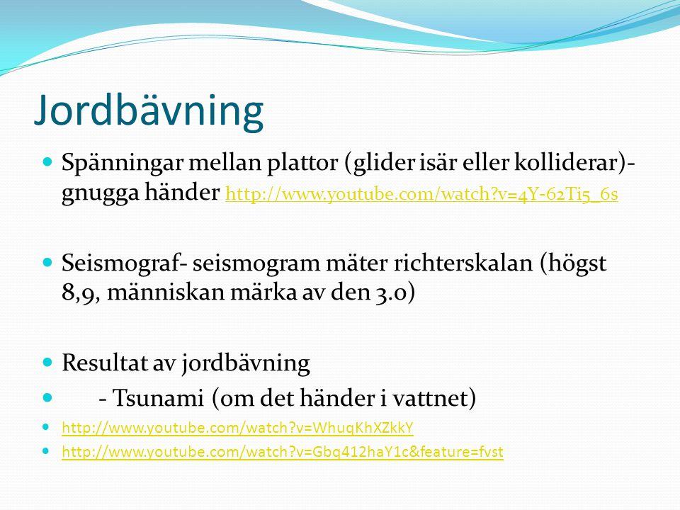 Jordbävning Spänningar mellan plattor (glider isär eller kolliderar)- gnugga händer http://www.youtube.com/watch v=4Y-62Ti5_6s.