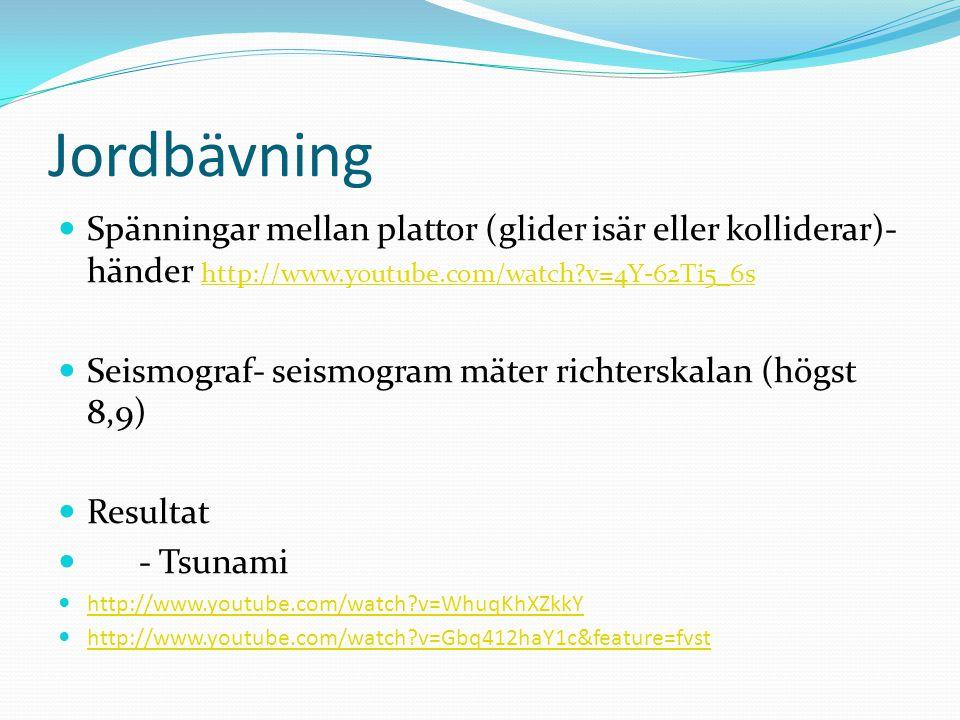 Jordbävning Spänningar mellan plattor (glider isär eller kolliderar)- händer http://www.youtube.com/watch v=4Y-62Ti5_6s.