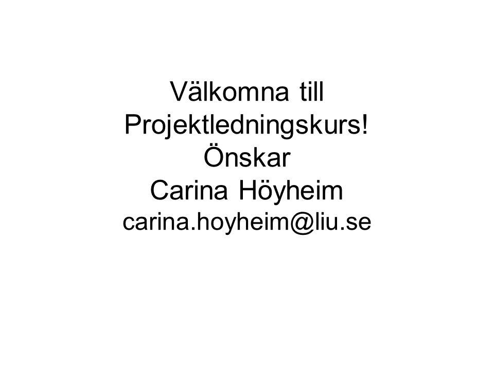 Välkomna till Projektledningskurs. Önskar Carina Höyheim carina