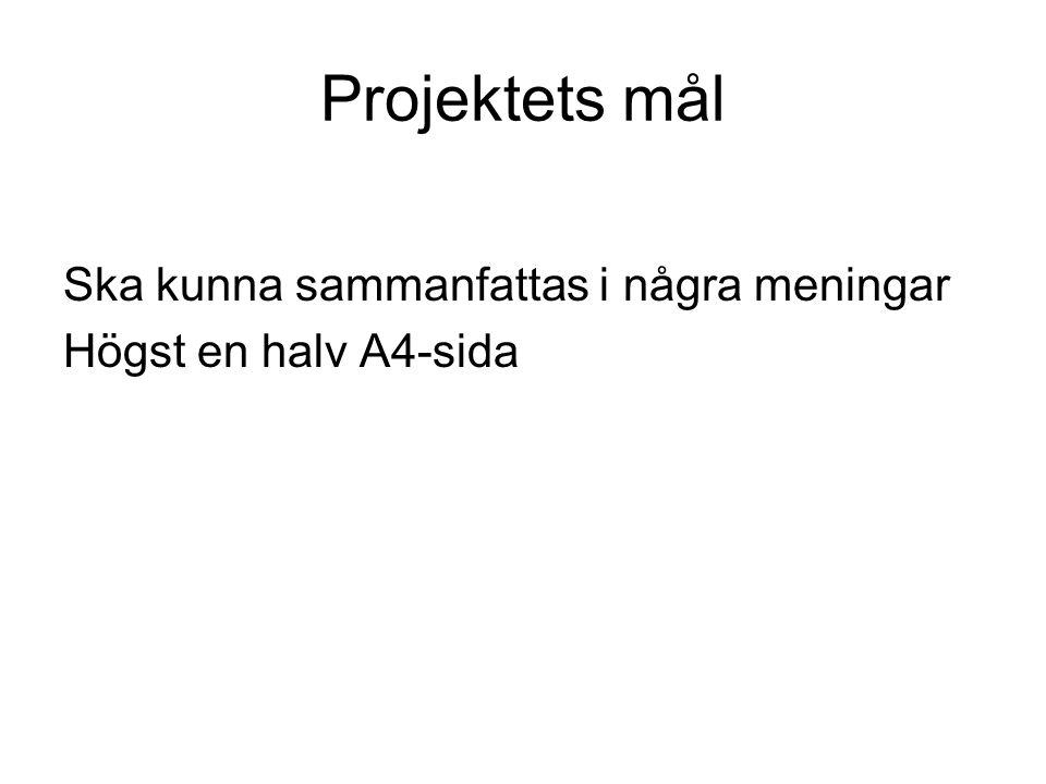 Projektets mål Ska kunna sammanfattas i några meningar