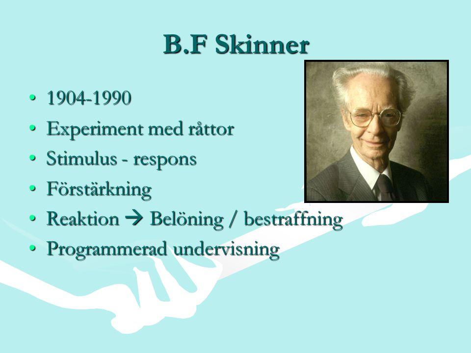 B.F Skinner 1904-1990 Experiment med råttor Stimulus - respons