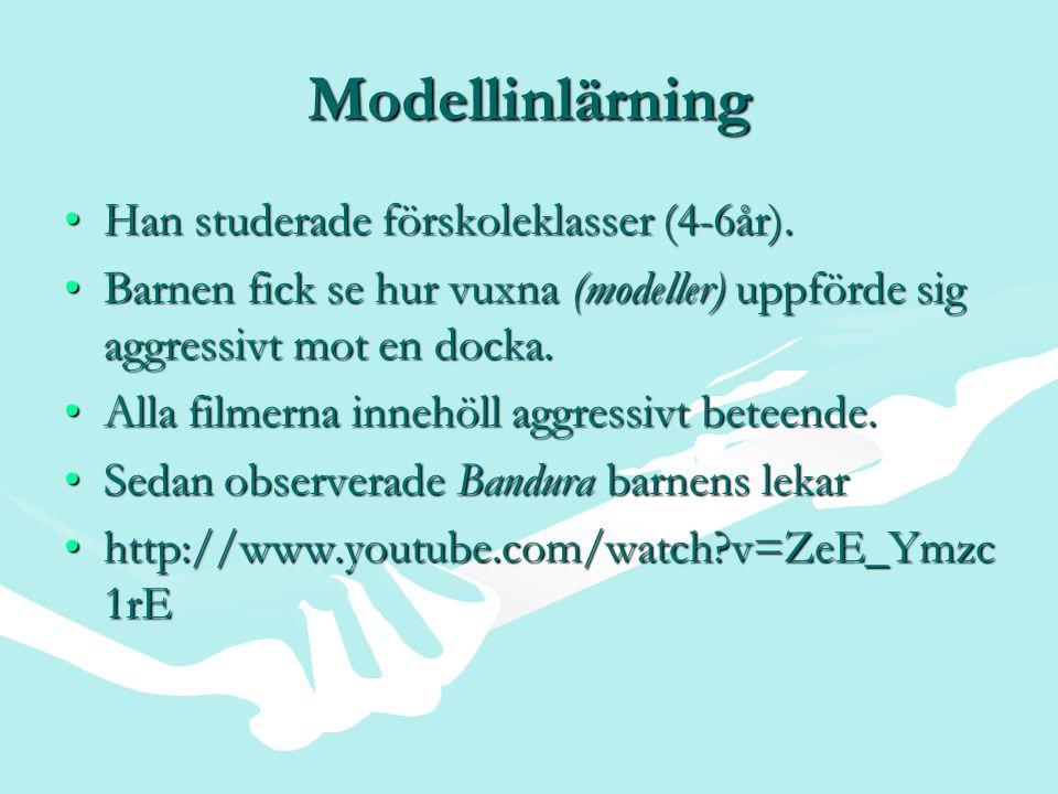 Modellinlärning Han studerade förskoleklasser (4-6år).