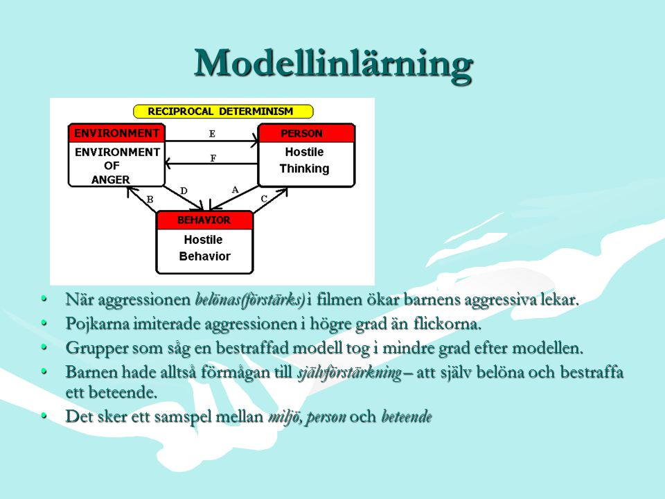 Modellinlärning När aggressionen belönas(förstärks) i filmen ökar barnens aggressiva lekar.