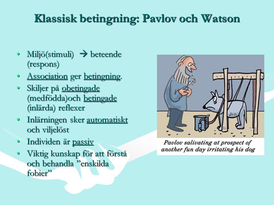 Klassisk betingning: Pavlov och Watson