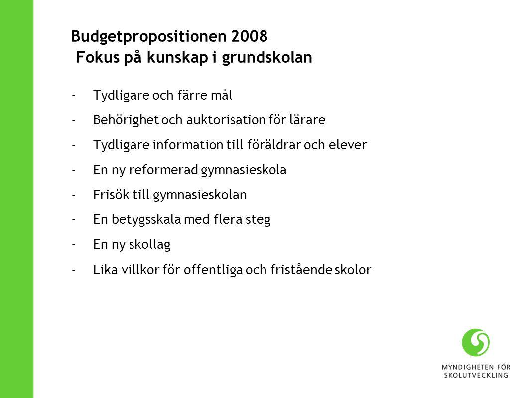 Budgetpropositionen 2008 Fokus på kunskap i grundskolan