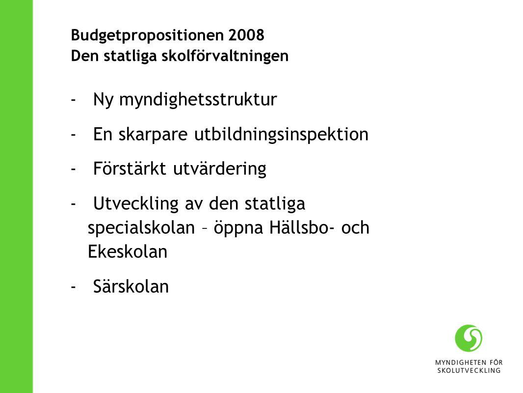 Budgetpropositionen 2008 Den statliga skolförvaltningen