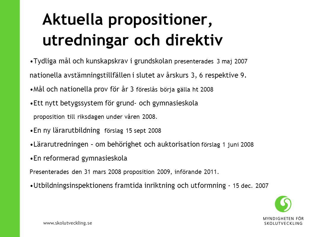 Aktuella propositioner, utredningar och direktiv
