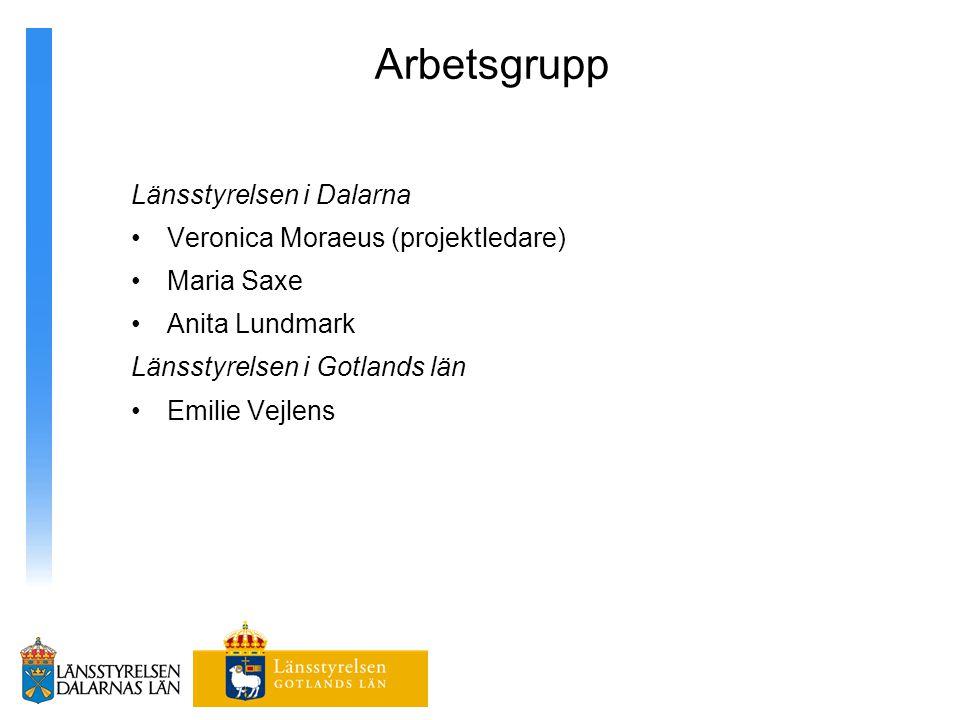 Arbetsgrupp Länsstyrelsen i Dalarna Veronica Moraeus (projektledare)
