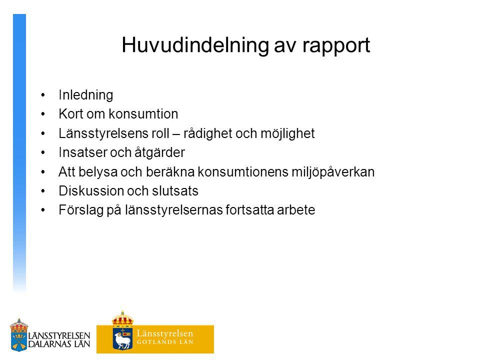 Huvudindelning av rapport