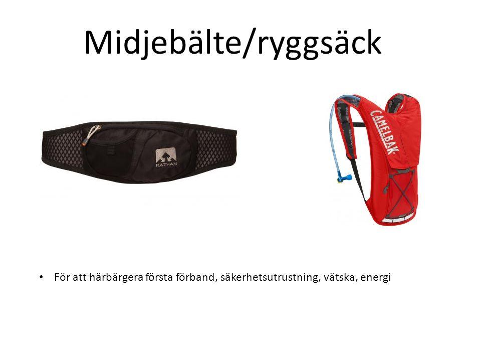 Midjebälte/ryggsäck För att härbärgera första förband, säkerhetsutrustning, vätska, energi
