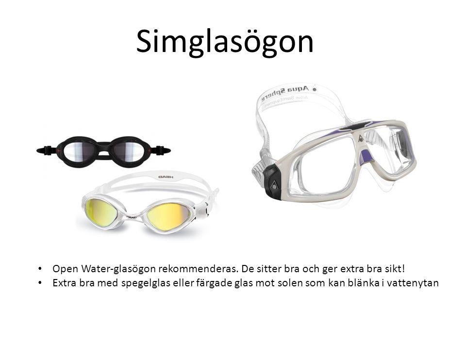 Simglasögon Open Water-glasögon rekommenderas. De sitter bra och ger extra bra sikt!