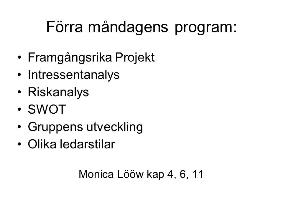 Förra måndagens program: