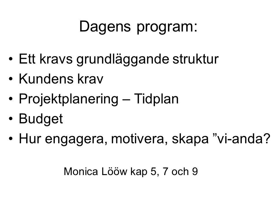 Dagens program: Ett kravs grundläggande struktur Kundens krav