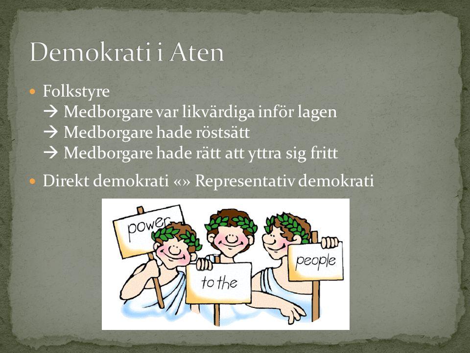 Demokrati i Aten Folkstyre  Medborgare var likvärdiga inför lagen  Medborgare hade röstsätt  Medborgare hade rätt att yttra sig fritt.