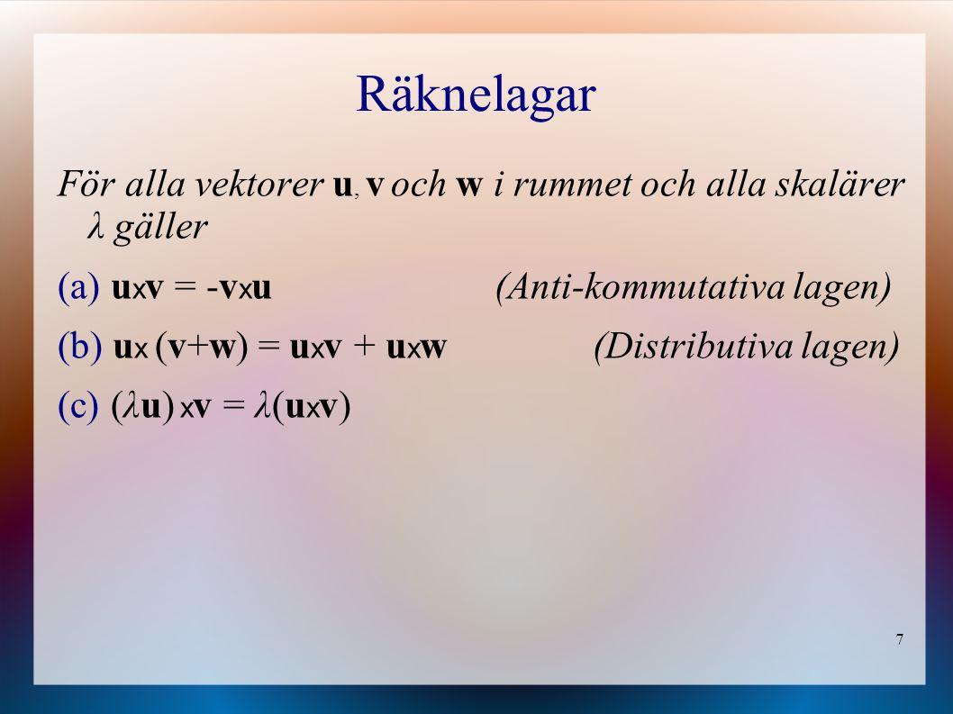 Räknelagar För alla vektorer u, v och w i rummet och alla skalärer λ gäller. uxv = -vxu (Anti-kommutativa lagen)