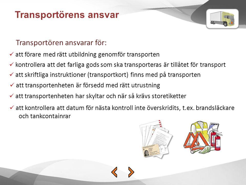 Transportörens ansvar