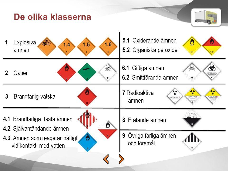 De olika klasserna 5.1 Oxiderande ämnen 1 Explosiva